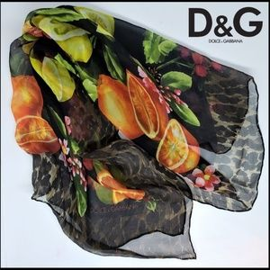 "DOLCE & GABBANA Fruit Print 26"" Square Silk Scarf"